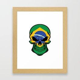 Brazilian Flag Skull Framed Art Print