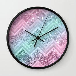 Mermaid Glitter Chevron #2 #shiny #pastel #decor #art #society6 Wall Clock