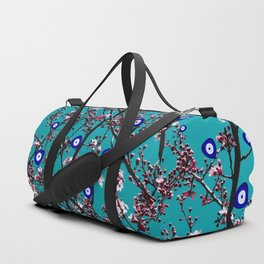 Cherry Blossoms Evil Eyes Duffle Bag