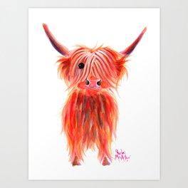 Scottish Highland Cow ' PEGGY ' by Shirley MacArthur Art Print