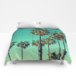 Palm Trees Turquoise Sky Comforters