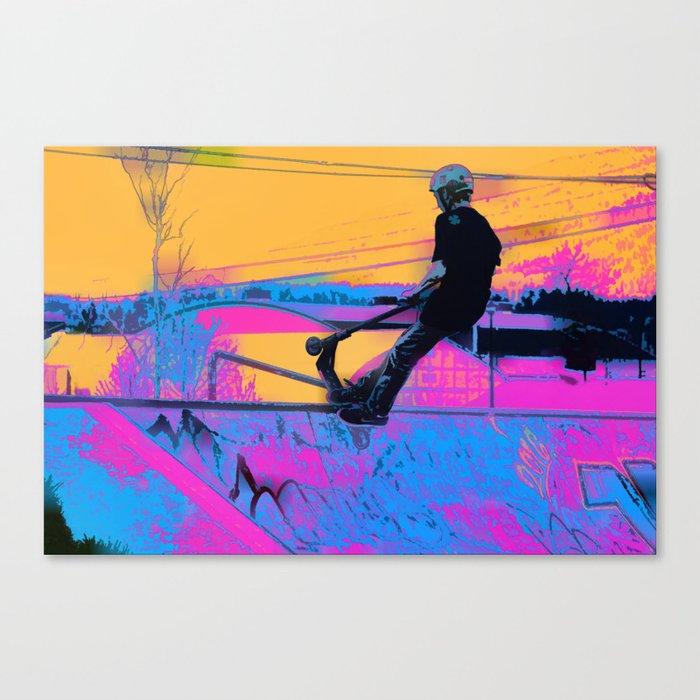 On Edge -  Stunt Scooter Artwork Canvas Print