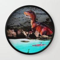 dinosaur Wall Clocks featuring Dinosaur by John Turck
