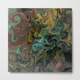 Abstract Painting with an Aqua Light Metal Print