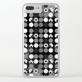Hectic Geometric On Textured Black And White Clear iPhone Case