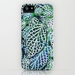 Tropical Leaves Fittonia Nerve Plant #watercolor #decor #society6 #pattern iPhone Case
