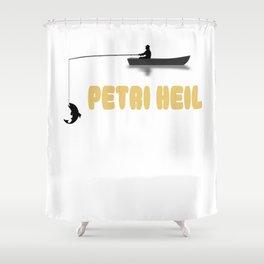 Petri mit Boot - funny fishing rod saying fishing kings Shower Curtain