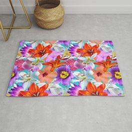 Tropical Floral Study in Turquoise Rug