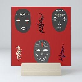 Masks with Tribal Tattoos, Black, Red, White, Mystic Symbols, Mystery of Life, Rite of Passage. Mini Art Print