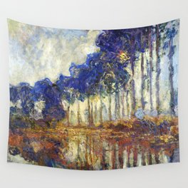 Poplars on the Bank of the Epte River by Claude Monet Wall Tapestry
