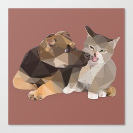 Low Poly German Shepard Puppy and Cat Canvas Print