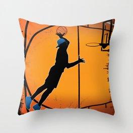 Basketball Player Silhouette Throw Pillow