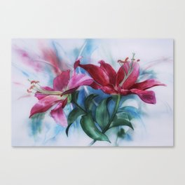 Wine Lilies In Pastel Watercolour Canvas Print