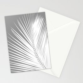 Large Palm Leaf, Grey / Gray and White Stationery Cards