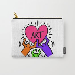 """Keith Haring inspired """"I Love Art"""" Secondary Colors edition Carry-All Pouch"""