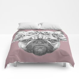 Pink Frenchie Comforters