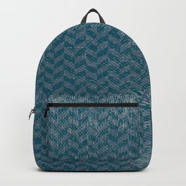 Vintage blue gray abstract geometric chevron pattern Backpack