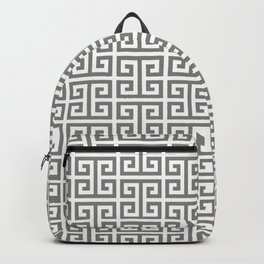 Gray and White Greek Key Pattern Backpack