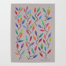 Leafy Twigs - Multicolored on Gray Poster