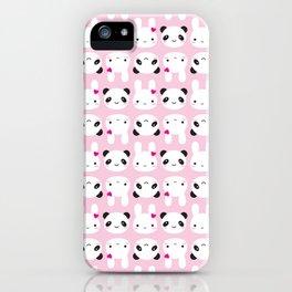 Super Cute Kawaii Bunny and Panda (Pink) iPhone Case