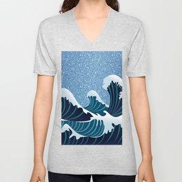 Abstract white navy blue glitter japanese waves Unisex V-Neck