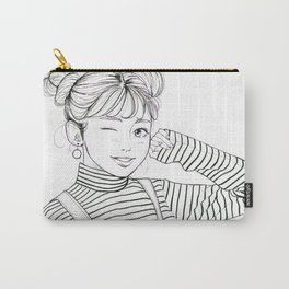 Stripes - fashion art, girl drawing, girl portrait, fashion illustration Carry-All Pouch