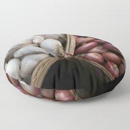 Garlic and Onions Basket - Market -  Floor Pillow
