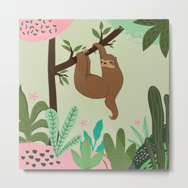 Sloth on Tree Metal Print