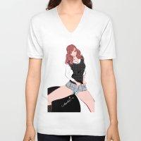 polka dot V-neck T-shirts featuring JK POLKA DOT by Chandelina