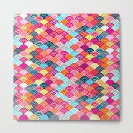 Bright watercolor scallop pattern Metal Print