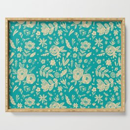 Hand Drawn Flower Pattern 5 Serving Tray