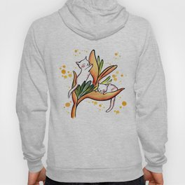 Yellow Heliconia and Cat Twins Hoody