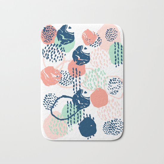 Abstract coral mint navy modern color palette basic canvas art for home Bath Mat