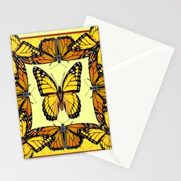 YELLOW & ORANGE MONARCH BUTTERFLIES PATTERNED ART Stationery Cards