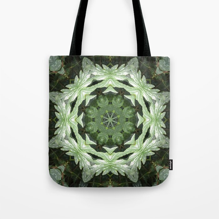 Tropical Twist - Green Leaves Kaleidoscope, Mandala Tote Bag