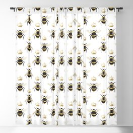 Gold Queen bee / girl power bumble bee pattern Blackout Curtain