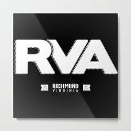 "Rva Logo - White   "" Striped Outline "" Metal Print"