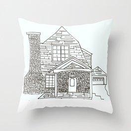 Berkley Rd House Black and White Throw Pillow