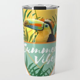Summer Vibes Typography Tropical Bouquet With Toucan Travel Mug