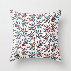 Organic pattern red and blue leaves. Throw Pillow