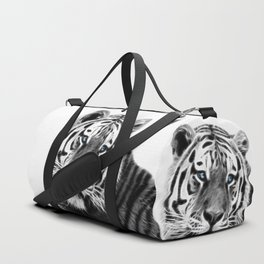 Black and white fractal tiger Duffle Bag