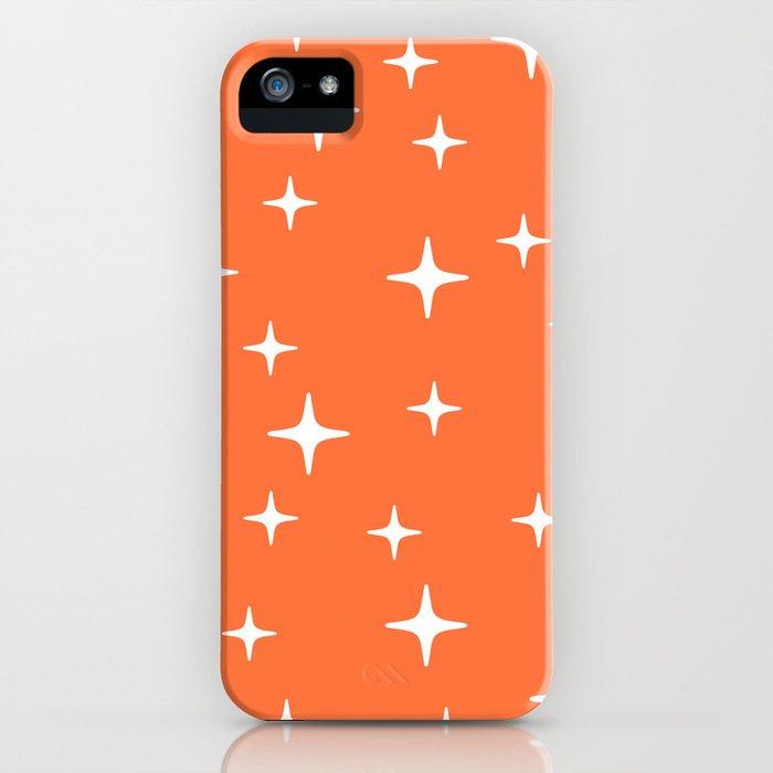Mid Century Modern Star Pattern 443 Orange iPhone Case