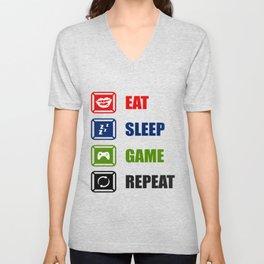 Eat Sleep Game Repeat Unisex V-Neck