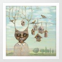 Bird Houses Art Print