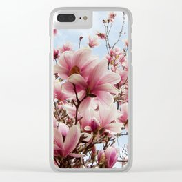 magnolia and blue sky Clear iPhone Case