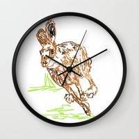 hare Wall Clocks featuring Hare by Simon Boulton