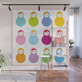 dolls matryoshka on white background, pastel colors Wall Mural