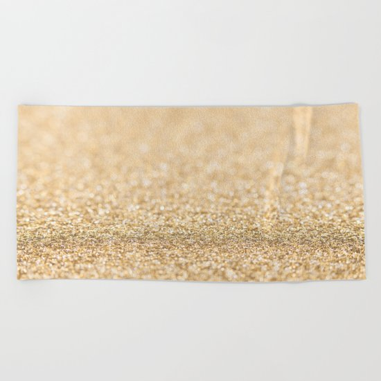 Beautiful champagne gold glitter sparkles Beach Towel