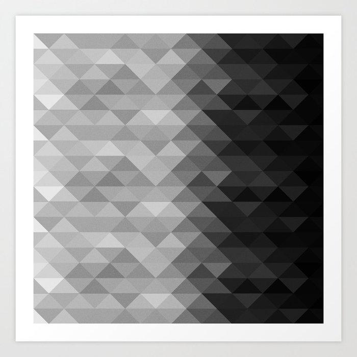 Grayscale triangle geometric squares pattern Art Print