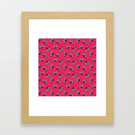 fans all over on bright red Framed Art Print